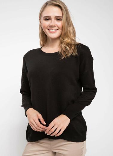 DeFacto Asimetrik Kesim Basic Triko Tunik Siyah